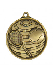 1073-12G Gold Tennis Medal 50mm