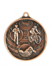 1073-15BR Bronze Triathlon Medal 50mm