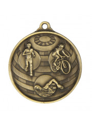 1073-15G Gold Triathlon Medal 50mm