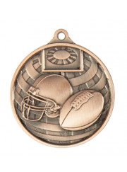 1073-27BR Bronze Grid Iron Football Medal 50mm