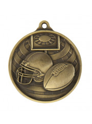 1073-27G Gold Grid Iron Football Medal 50mm