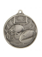 1073-27S Silver Grid Iron Football Medal 50mm