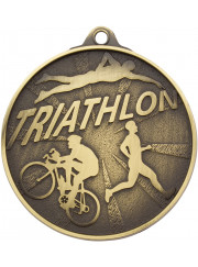 MC17G Gold Triathlon Medal 52mm