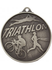 MC17S Silver Triathlon Medal 52mm